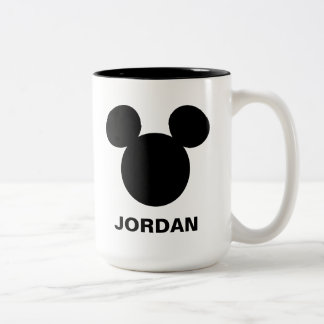 Icono negro del logotipo el | Mickey de Disney Taza De Café De Dos Colores