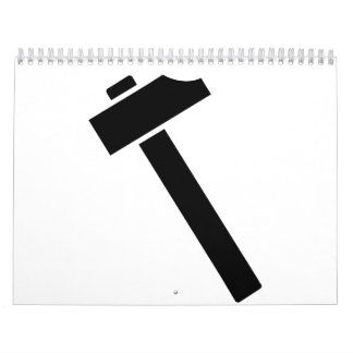 Icono negro del martillo calendario