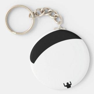 icono negro del paragliding llavero redondo tipo pin