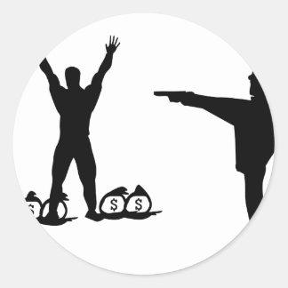 icono negro del poli y del ladrón pegatina redonda