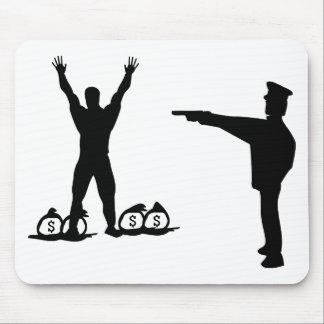 icono negro del poli y del ladrón alfombrillas de ratones