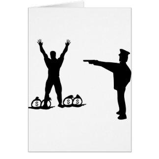icono negro del poli y del ladrón tarjeta de felicitación