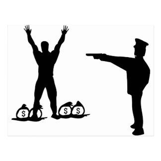icono negro del poli y del ladrón tarjeta postal