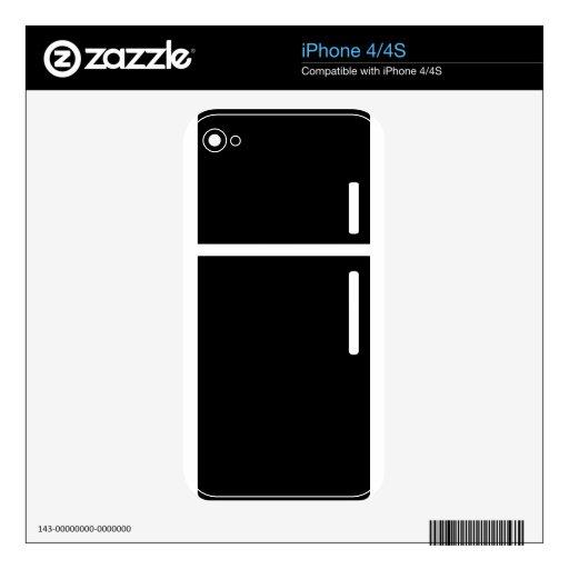 icono negro del refrigerador del refrigerador calcomanías para el iPhone 4