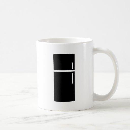 icono negro del refrigerador del refrigerador tazas de café