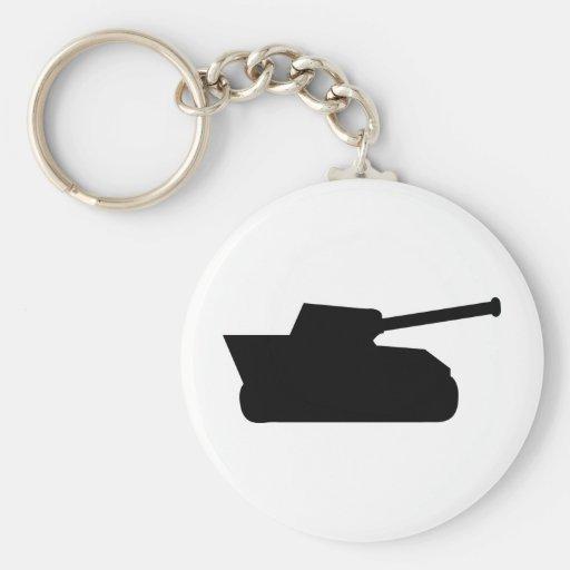 icono negro del tanque de la guerra llaveros