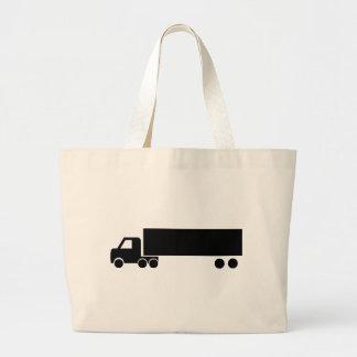 icono negro largo del camión bolsa tela grande