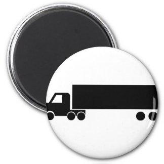 icono negro largo del camión imán redondo 5 cm