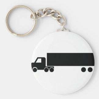 icono negro largo del camión llavero redondo tipo pin