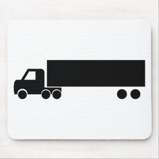 icono negro largo del camión mouse pads