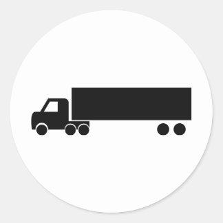 icono negro largo del camión pegatina redonda