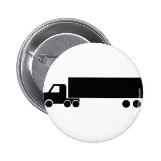 icono negro largo del camión pin redondo de 2 pulgadas
