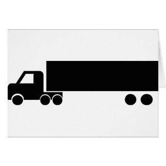 icono negro largo del camión tarjeta de felicitación