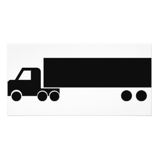 icono negro largo del camión tarjeta fotografica