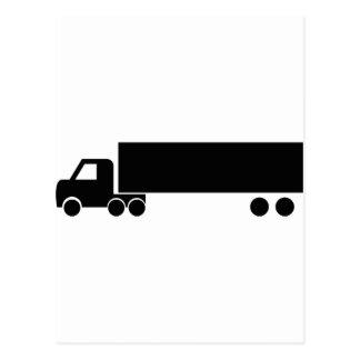 icono negro largo del camión tarjeta postal