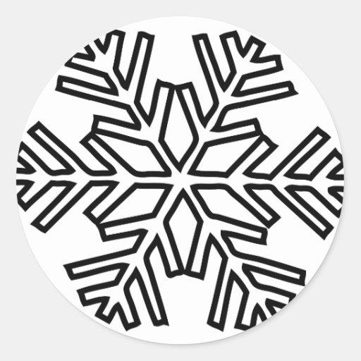 icono nevoso del invierno del copo de nieve pegatina redonda