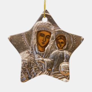 Icono ortodoxo adorno navideño de cerámica en forma de estrella