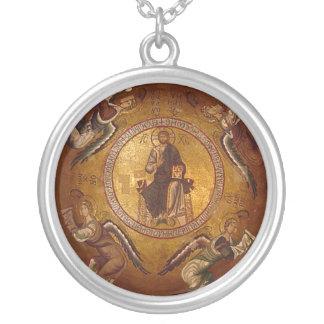 Icono ortodoxo cristiano de Pantakrator del Colgante Redondo