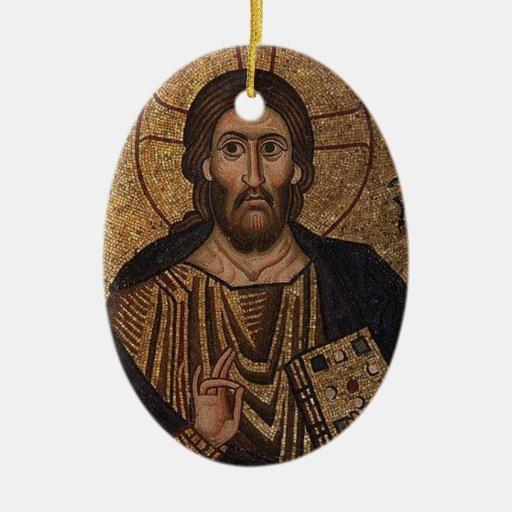 Icono ortodoxo cristiano del mosaico de Cristo Pan Ornamentos De Reyes Magos