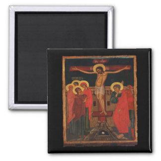 Icono ortodoxo de Jesús en la cruz Imán Cuadrado