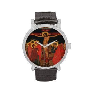 Icono ortodoxo de Jesús en la cruz Reloj De Mano