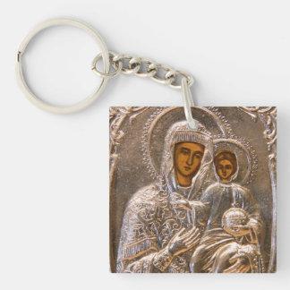 Icono ortodoxo llavero cuadrado acrílico a doble cara