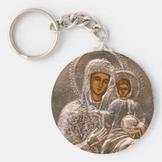 Icono ortodoxo llavero redondo tipo pin