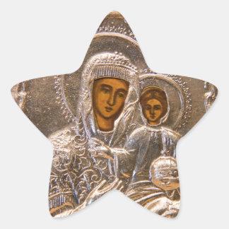 Icono ortodoxo pegatina en forma de estrella