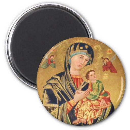 Icono ortodoxo ruso - Virgen María y bebé Jesús Imán Redondo 5 Cm