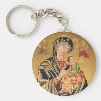 Icono ortodoxo ruso - Virgen María y bebé Jesús Llavero Redondo Tipo Pin