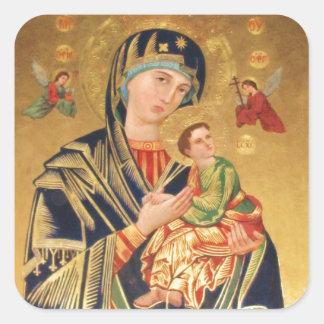 Icono ortodoxo ruso - Virgen María y bebé Jesús Calcomanías Cuadradass