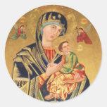 Icono ortodoxo ruso - Virgen María y bebé Jesús Etiquetas Redondas