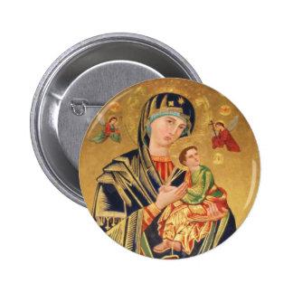 Icono ortodoxo ruso - Virgen María y bebé Jesús Pin Redondo De 2 Pulgadas