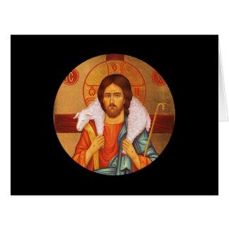 Icono perdido de las ovejas de Jesús que lleva Tarjeta De Felicitación Grande