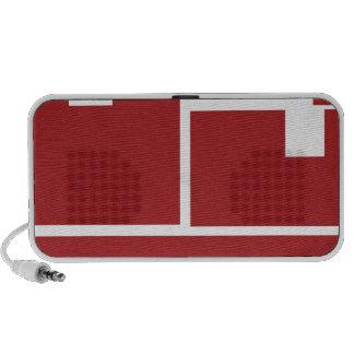 Icono plano rojo del carro de las cajas de envío notebook altavoz