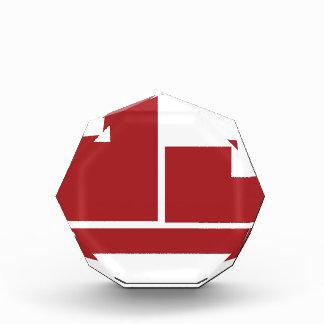 Icono plano rojo del carro de las cajas de envío