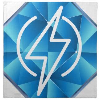 Icono polivinílico bajo azul del poder del rayo servilleta