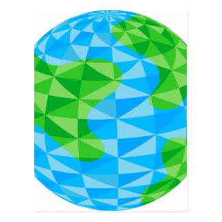 Icono polivinílico bajo del globo del mundo de la postales