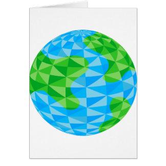 Icono polivinílico bajo del globo del mundo de la tarjeta de felicitación