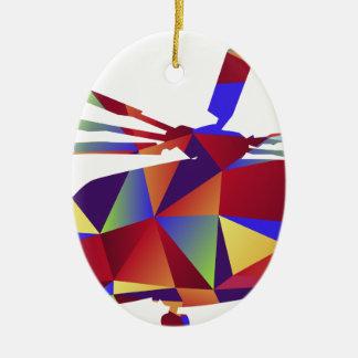 Icono polivinílico bajo del helicóptero adorno navideño ovalado de cerámica
