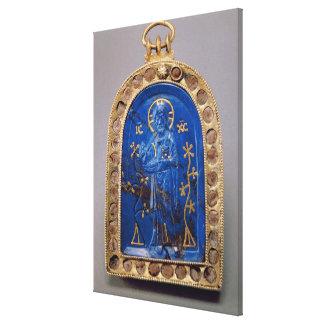 Icono portátil, probablemente medieval (lapislázul impresiones en lienzo estiradas