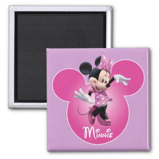 Icono principal rosado de Minnie el   Mickey Imán Cuadrado