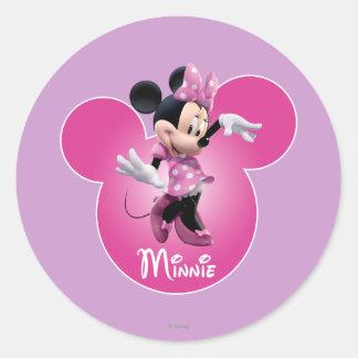Icono principal rosado de Minnie el | Mickey Pegatina Redonda