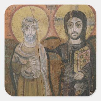 Icono que representa a Abbott Mena con Cristo Calcomanías Cuadradas