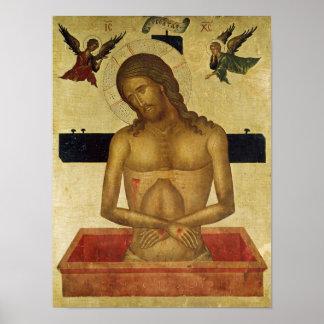 Icono que representa a Cristo en la tumba Póster