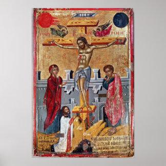 Icono que representa la crucifixión, 1520 póster