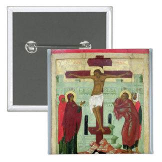 Icono que representa la crucifixión con la Virgen Pin Cuadrada 5 Cm