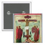 Icono que representa la crucifixión con la Virgen Pin Cuadrado