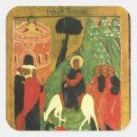 Icono que representa la entrada de Cristo en Jerus Calcomanía Cuadradas Personalizadas