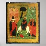 Icono que representa la entrada de Cristo en Jerus Póster